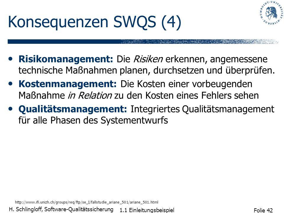 Folie 42 H. Schlingloff, Software-Qualitätssicherung 1.1 Einleitungsbeispiel Konsequenzen SWQS (4) Risikomanagement: Die Risiken erkennen, angemessene