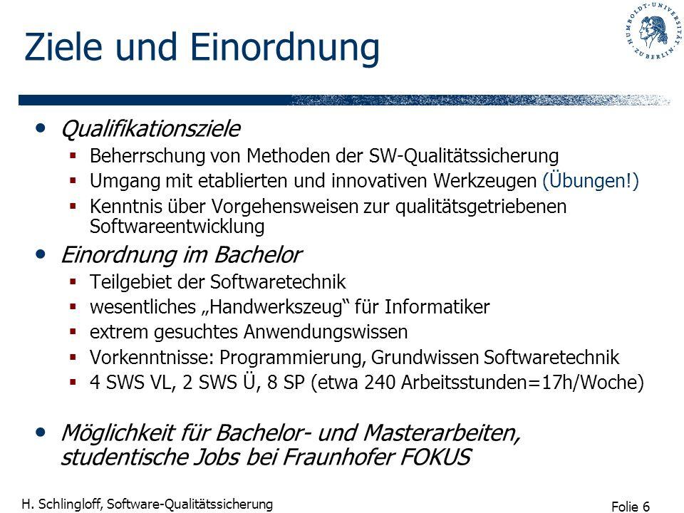 Folie 6 H. Schlingloff, Software-Qualitätssicherung Ziele und Einordnung Qualifikationsziele Beherrschung von Methoden der SW-Qualitätssicherung Umgan