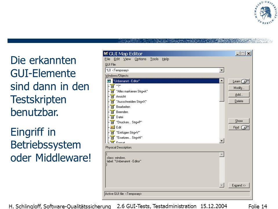 Folie 14 H. Schlingloff, Software-Qualitätssicherung 15.12.2004 2.6 GUI-Tests, Testadministration Die erkannten GUI-Elemente sind dann in den Testskri