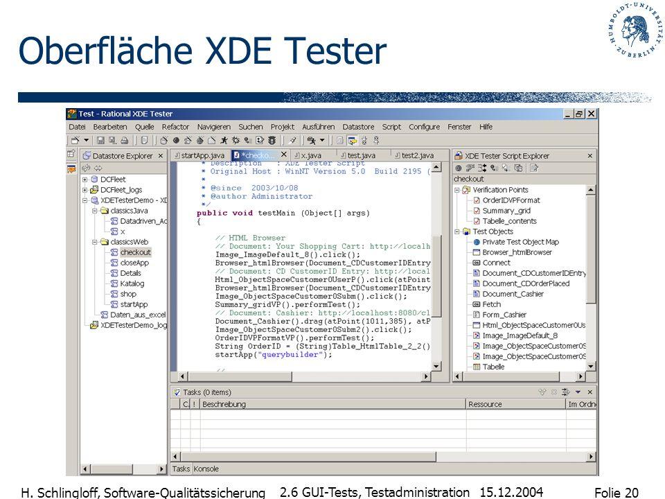 Folie 20 H. Schlingloff, Software-Qualitätssicherung 15.12.2004 2.6 GUI-Tests, Testadministration Oberfläche XDE Tester