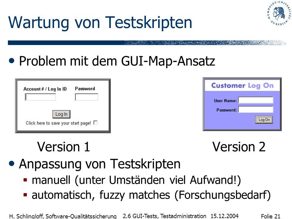 Folie 21 H. Schlingloff, Software-Qualitätssicherung 15.12.2004 2.6 GUI-Tests, Testadministration Wartung von Testskripten Problem mit dem GUI-Map-Ans