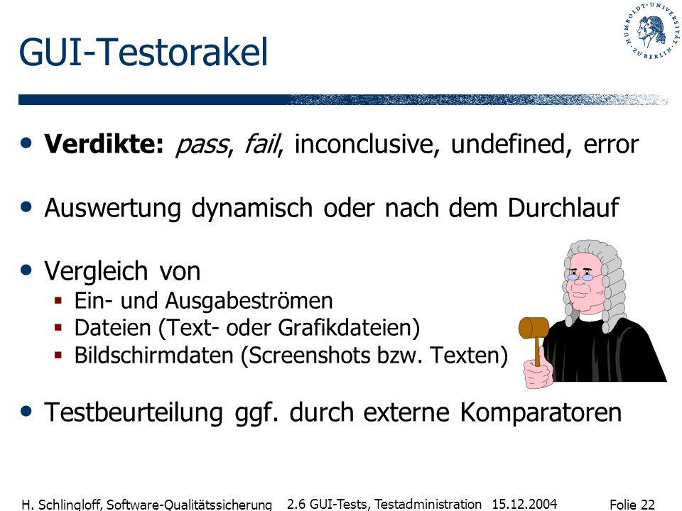 Folie 22 H. Schlingloff, Software-Qualitätssicherung 15.12.2004 2.6 GUI-Tests, Testadministration GUI-Testorakel Verdikte: pass, fail, inconclusive, u