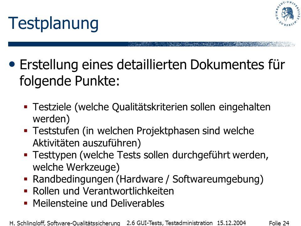Folie 24 H. Schlingloff, Software-Qualitätssicherung 15.12.2004 2.6 GUI-Tests, Testadministration Testplanung Erstellung eines detaillierten Dokumente