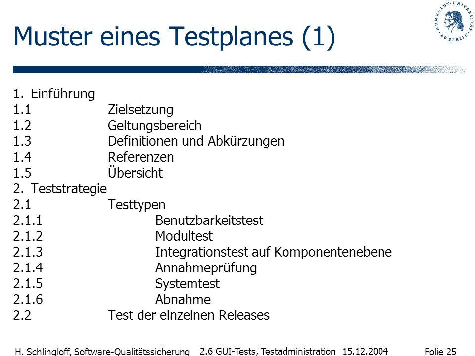 Folie 25 H. Schlingloff, Software-Qualitätssicherung 15.12.2004 2.6 GUI-Tests, Testadministration Muster eines Testplanes (1) 1.Einführung 1.1Zielsetz