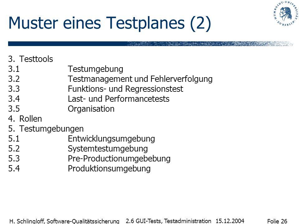 Folie 26 H. Schlingloff, Software-Qualitätssicherung 15.12.2004 2.6 GUI-Tests, Testadministration Muster eines Testplanes (2) 3.Testtools 3.1Testumgeb