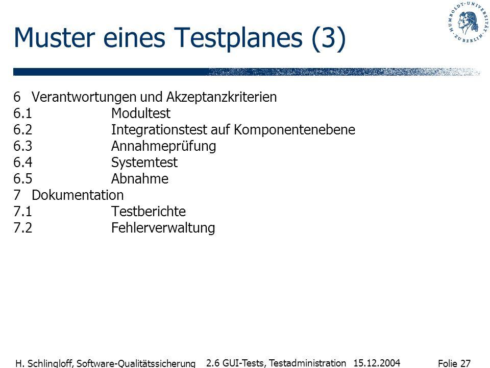 Folie 27 H. Schlingloff, Software-Qualitätssicherung 15.12.2004 2.6 GUI-Tests, Testadministration Muster eines Testplanes (3) 6Verantwortungen und Akz