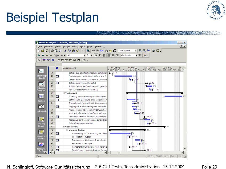 Folie 29 H. Schlingloff, Software-Qualitätssicherung 15.12.2004 2.6 GUI-Tests, Testadministration Beispiel Testplan