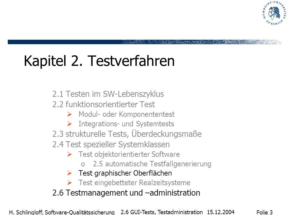 Folie 3 H. Schlingloff, Software-Qualitätssicherung 15.12.2004 2.6 GUI-Tests, Testadministration Kapitel 2. Testverfahren 2.1 Testen im SW-Lebenszyklu