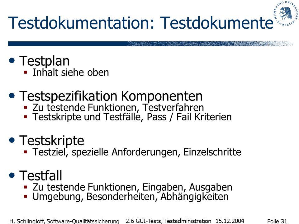 Folie 31 H. Schlingloff, Software-Qualitätssicherung 15.12.2004 2.6 GUI-Tests, Testadministration Testdokumentation: Testdokumente Testplan Inhalt sie