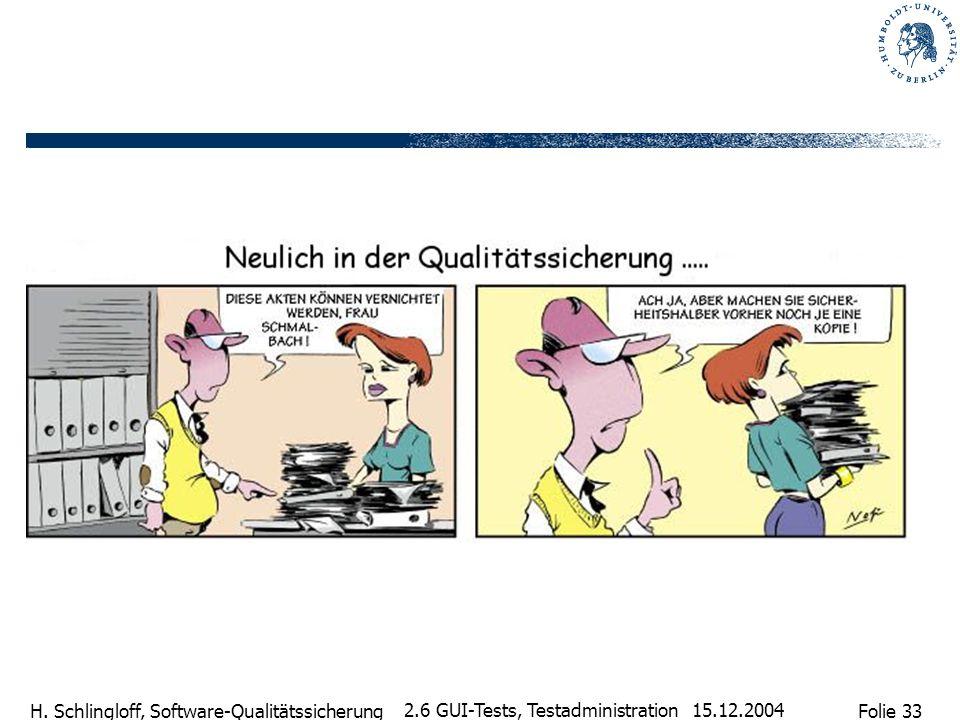 Folie 33 H. Schlingloff, Software-Qualitätssicherung 15.12.2004 2.6 GUI-Tests, Testadministration