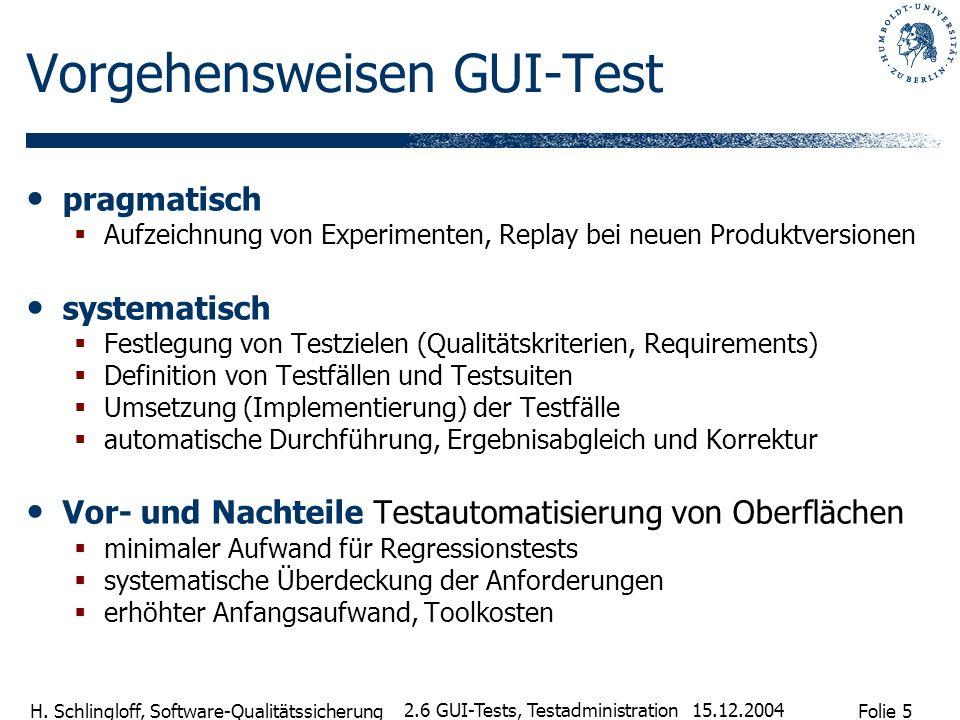 Folie 5 H. Schlingloff, Software-Qualitätssicherung 15.12.2004 2.6 GUI-Tests, Testadministration Vorgehensweisen GUI-Test pragmatisch Aufzeichnung von