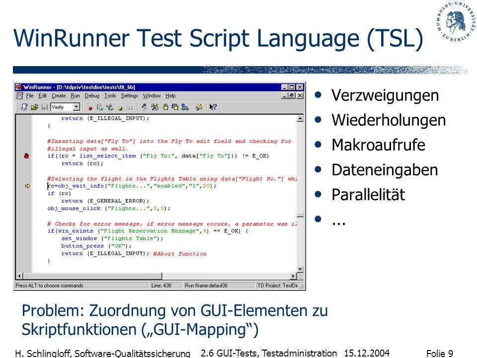 Folie 9 H. Schlingloff, Software-Qualitätssicherung 15.12.2004 2.6 GUI-Tests, Testadministration WinRunner Test Script Language (TSL) Verzweigungen Wi