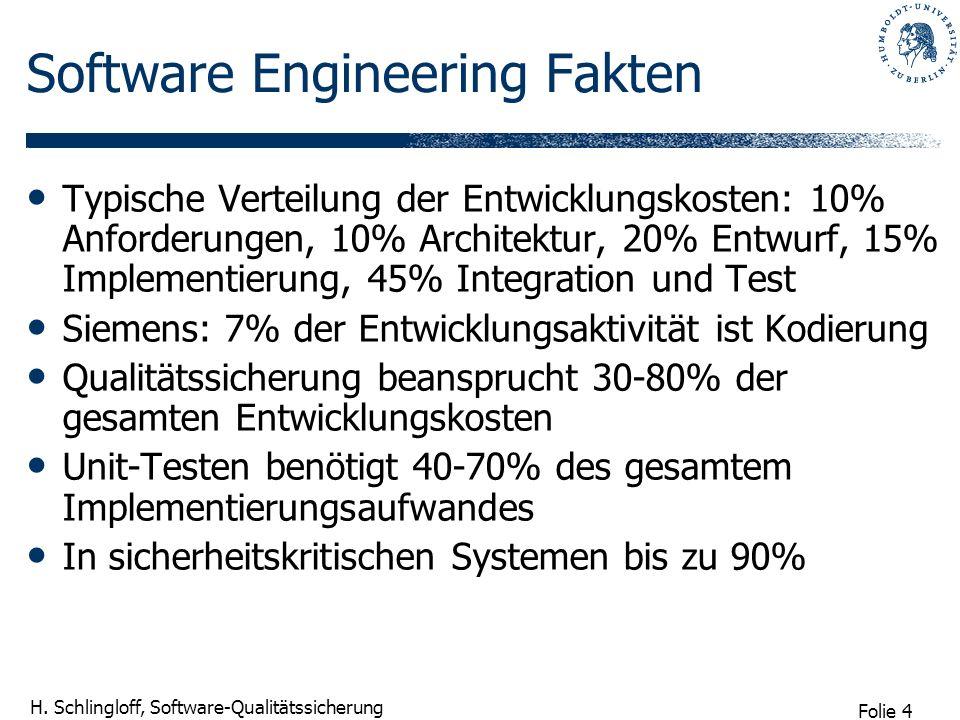 Folie 4 H. Schlingloff, Software-Qualitätssicherung Software Engineering Fakten Typische Verteilung der Entwicklungskosten: 10% Anforderungen, 10% Arc