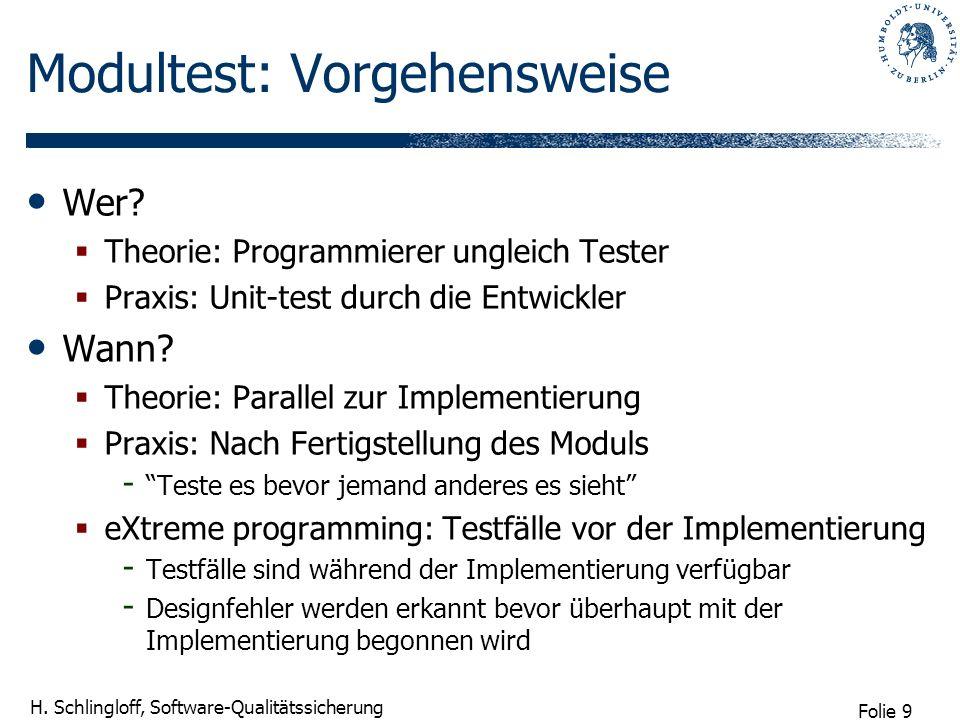 Folie 9 H. Schlingloff, Software-Qualitätssicherung Modultest: Vorgehensweise Wer? Theorie: Programmierer ungleich Tester Praxis: Unit-test durch die