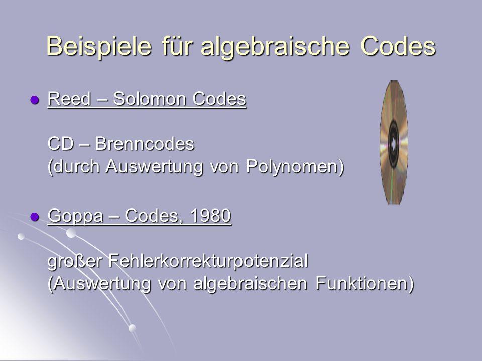 Code C/F q ist ein Unterraum von F q n G: F q m F q n u Gu G invertierbare lineare Transformation, ordnet jeder Nachricht ein Code – Wort zu C/F q ist ein Unterraum von F q n G: F q m F q n u Gu G invertierbare lineare Transformation, ordnet jeder Nachricht ein Code – Wort zu Parameter: n Länge der Code – Wörter k Dimension des Codes wt(c) = #{ c i / c = (c 1,…,c n ), c i <>0 } d min = min{d / d(c i, c j ) = wt(c i – c j )} Parameter: n Länge der Code – Wörter k Dimension des Codes wt(c) = #{ c i / c = (c 1,…,c n ), c i <>0 } d min = min{d / d(c i, c j ) = wt(c i – c j )}