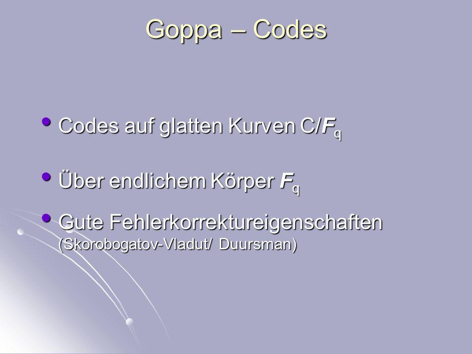 Beispiele für algebraische Codes Reed – Solomon Codes CD – Brenncodes (durch Auswertung von Polynomen) Reed – Solomon Codes CD – Brenncodes (durch Auswertung von Polynomen) Goppa – Codes, 1980 großer Fehlerkorrekturpotenzial (Auswertung von algebraischen Funktionen) Goppa – Codes, 1980 großer Fehlerkorrekturpotenzial (Auswertung von algebraischen Funktionen)