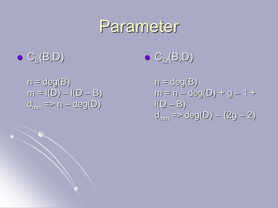 Kontruktion von Goppa – Codes C/F q glatte Kurve Dualer (Funktional) Code {P 1,…,P n } rationale Punkte Divisor B = j P j Divisor D D(P j ) = 0 d j = (P j ) fa.