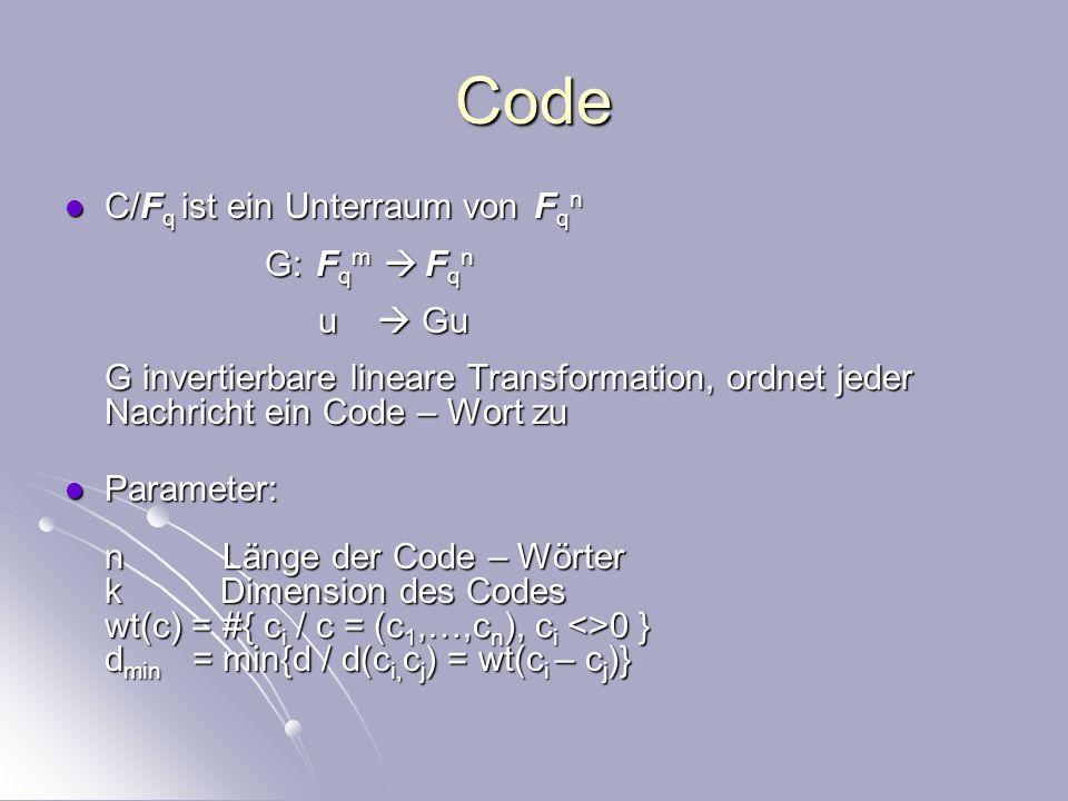 Konstruktion von Fehlerkorrigierenden Codes Große Dimension und d min entsprechend der Codewortlänge Große Dimension und d min entsprechend der Codewortlänge Effektiver Fehlerkorrekturalgorithmus Effektiver Fehlerkorrekturalgorithmus