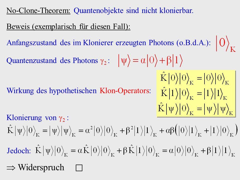 Beweis (exemplarisch für diesen Fall): Wirkung des hypothetischen Klon-Operators: Klonierung von 2 : Jedoch: Widerspruch Anfangszustand des im Klonier