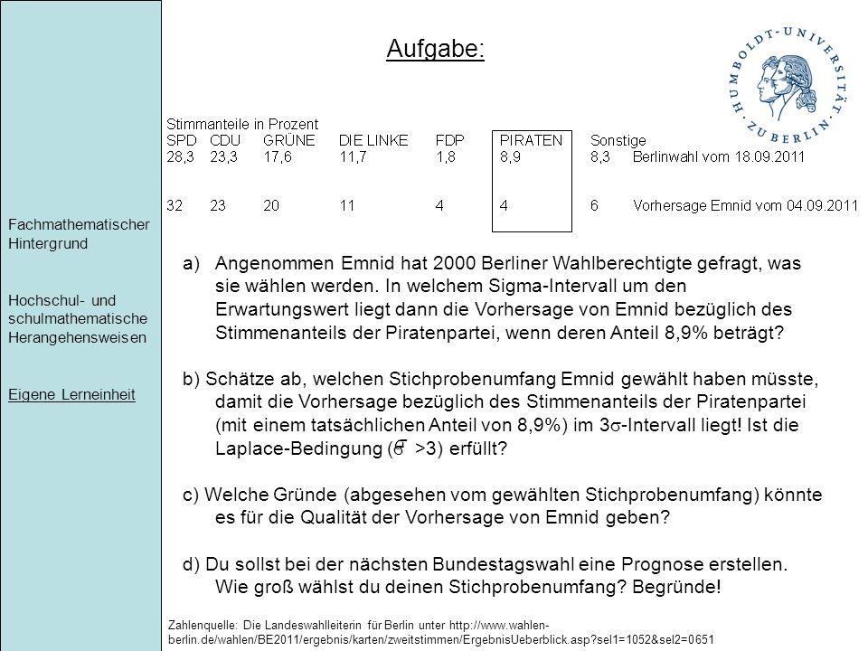 Fachmathematischer Hintergrund Hochschul- und schulmathematische Herangehensweisen Eigene Lerneinheit a)Angenommen Emnid hat 2000 Berliner Wahlberecht