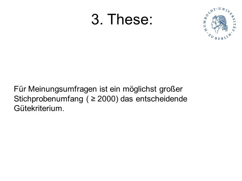 Für Meinungsumfragen ist ein möglichst großer Stichprobenumfang ( 2000) das entscheidende Gütekriterium. 3. These: