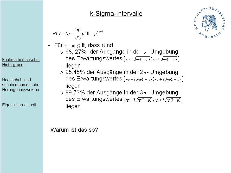 Fachmathematischer Hintergrund Hochschul- und schulmathematische Herangehensweisen Eigene Lerneinheit k-Sigma-Intervalle Warum ist das so?