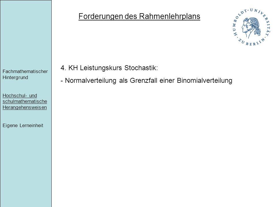 Forderungen des Rahmenlehrplans Fachmathematischer Hintergrund Hochschul- und schulmathematische Herangehensweisen Eigene Lerneinheit 4. KH Leistungsk