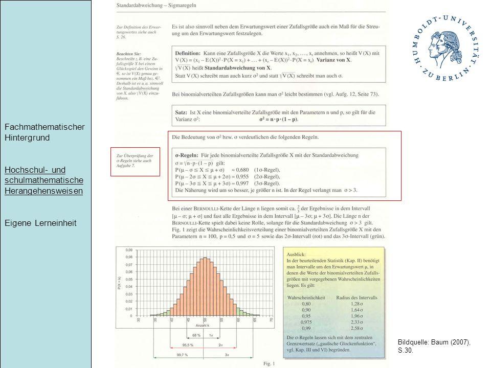 Fachmathematischer Hintergrund Hochschul- und schulmathematische Herangehensweisen Eigene Lerneinheit Umsetzung in Lehrbüchern Bildquelle: Baum (2007)