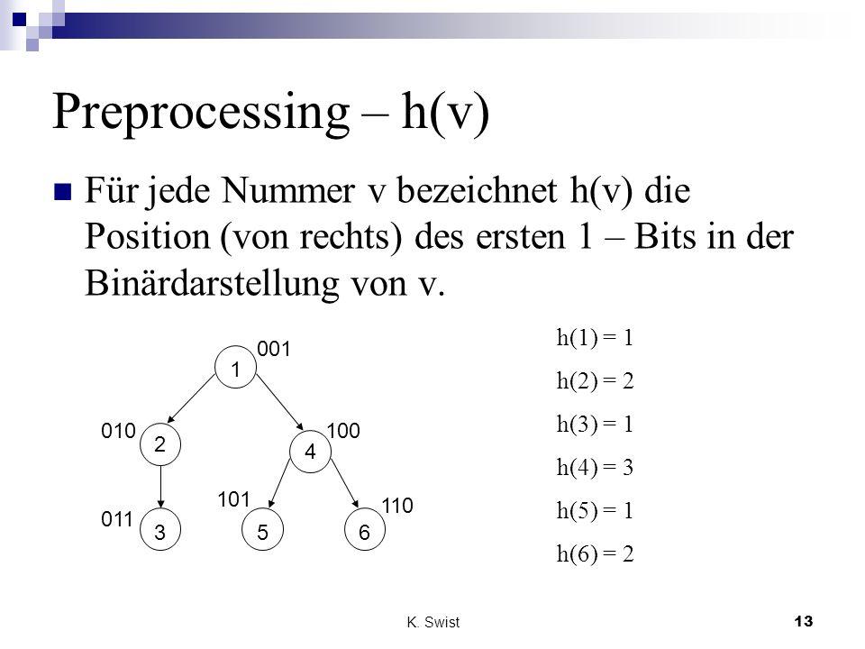 K. Swist13 Preprocessing – h(v) Für jede Nummer v bezeichnet h(v) die Position (von rechts) des ersten 1 – Bits in der Binärdarstellung von v. 5 6 4 3