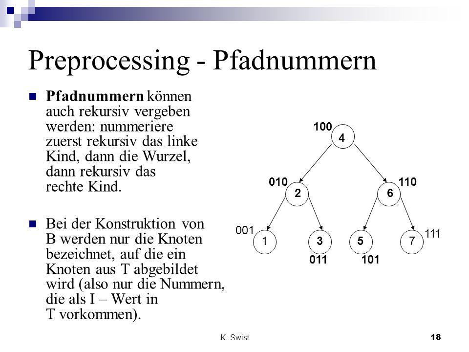 K. Swist18 Preprocessing - Pfadnummern Pfadnummern können auch rekursiv vergeben werden: nummeriere zuerst rekursiv das linke Kind, dann die Wurzel, d
