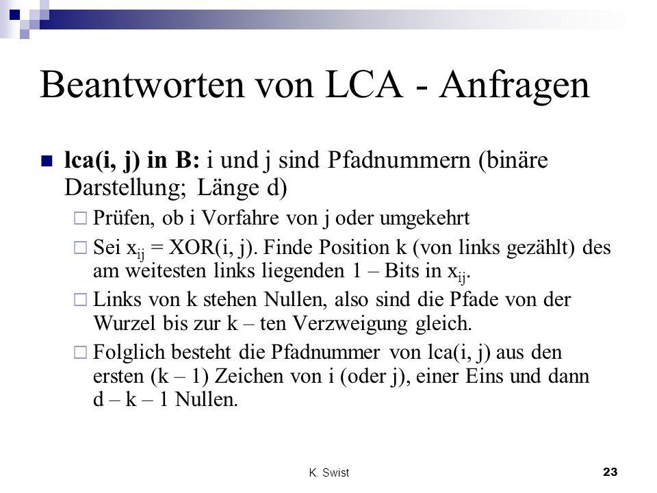 K. Swist23 Beantworten von LCA - Anfragen lca(i, j) in B: i und j sind Pfadnummern (binäre Darstellung; Länge d) Prüfen, ob i Vorfahre von j oder umge
