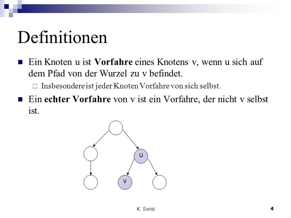 K. Swist4 Definitionen Ein Knoten u ist Vorfahre eines Knotens v, wenn u sich auf dem Pfad von der Wurzel zu v befindet. Insbesondere ist jeder Knoten