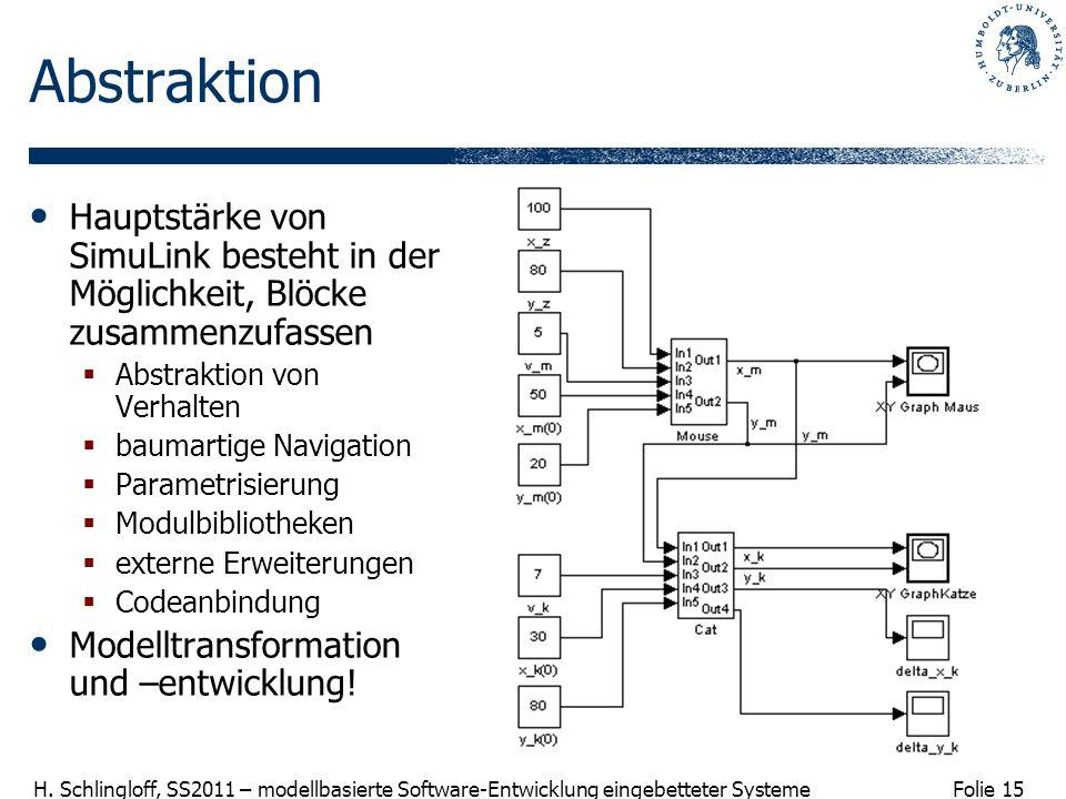 Folie 15 H. Schlingloff, SS2011 – modellbasierte Software-Entwicklung eingebetteter Systeme Abstraktion Hauptstärke von SimuLink besteht in der Möglic
