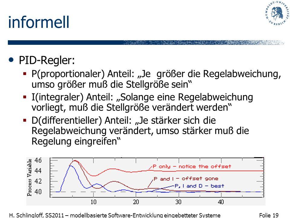 Folie 19 H. Schlingloff, SS2011 – modellbasierte Software-Entwicklung eingebetteter Systeme informell PID-Regler: P(proportionaler) Anteil: Je größer