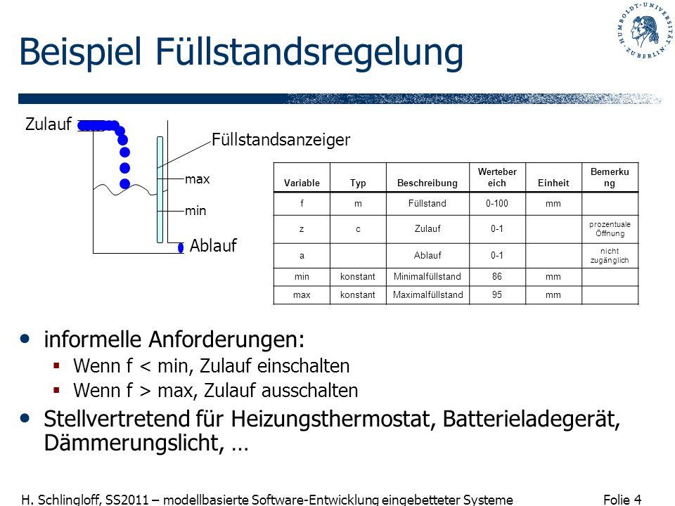 Folie 4 H. Schlingloff, SS2011 – modellbasierte Software-Entwicklung eingebetteter Systeme Beispiel Füllstandsregelung informelle Anforderungen: Wenn