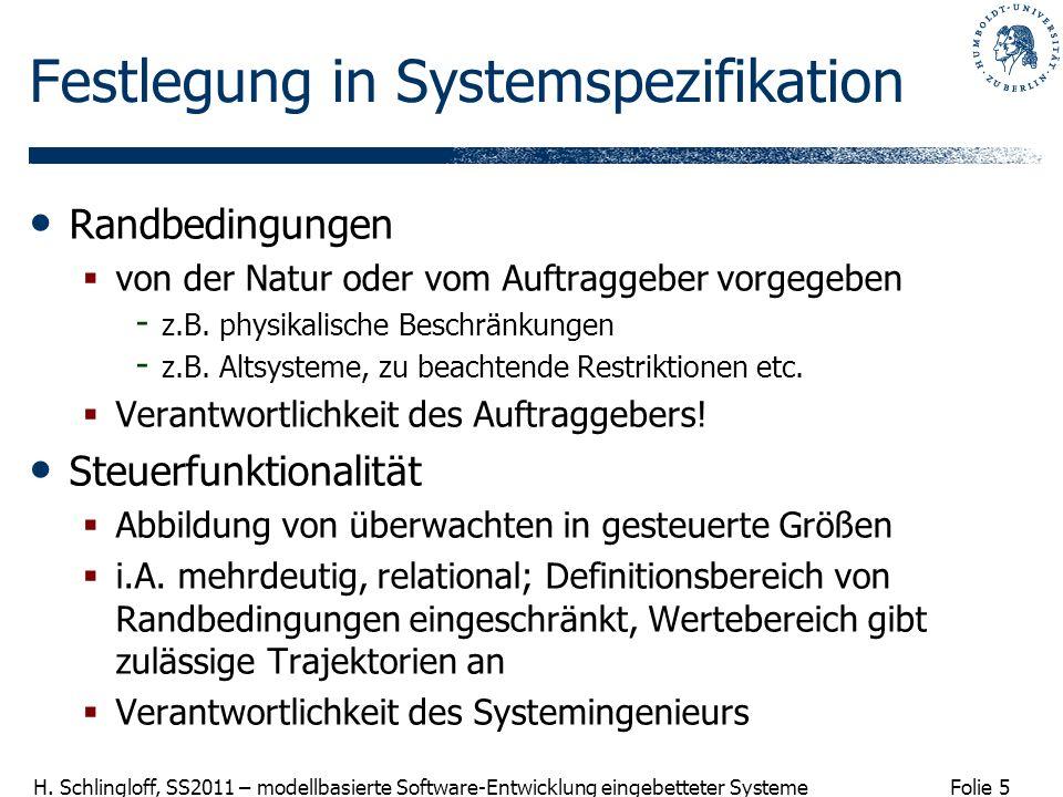 Folie 5 H. Schlingloff, SS2011 – modellbasierte Software-Entwicklung eingebetteter Systeme Festlegung in Systemspezifikation Randbedingungen von der N