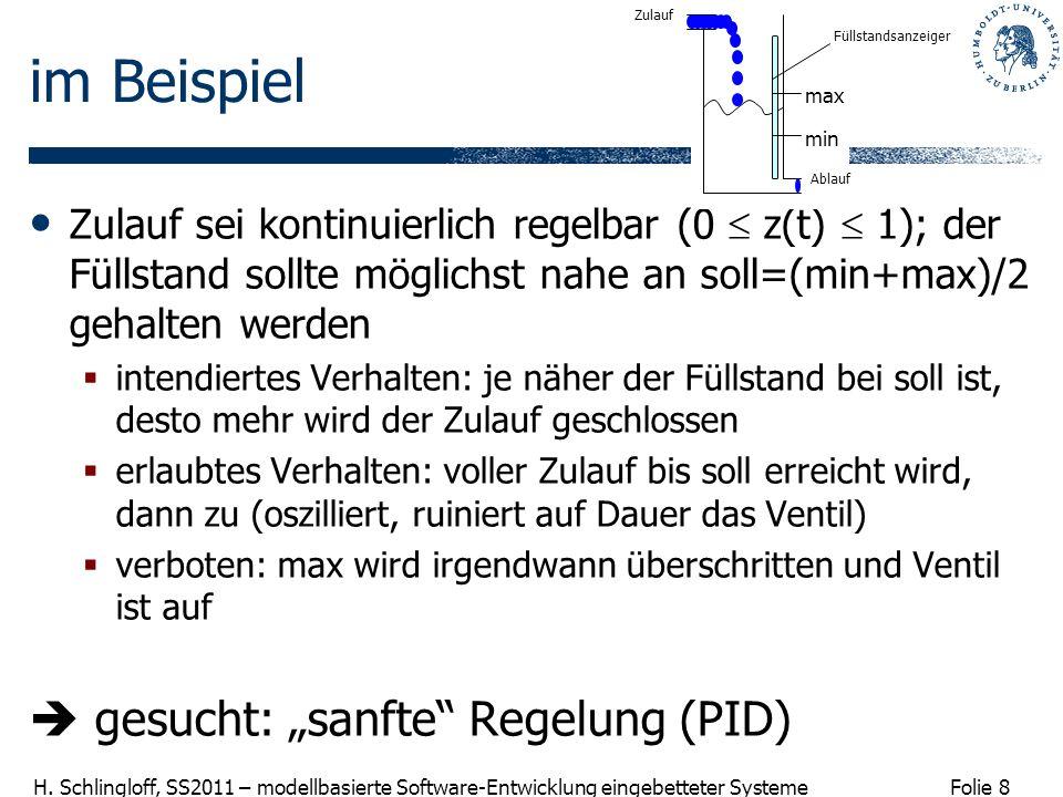 Folie 8 H. Schlingloff, SS2011 – modellbasierte Software-Entwicklung eingebetteter Systeme im Beispiel Zulauf sei kontinuierlich regelbar (0 z(t) 1);