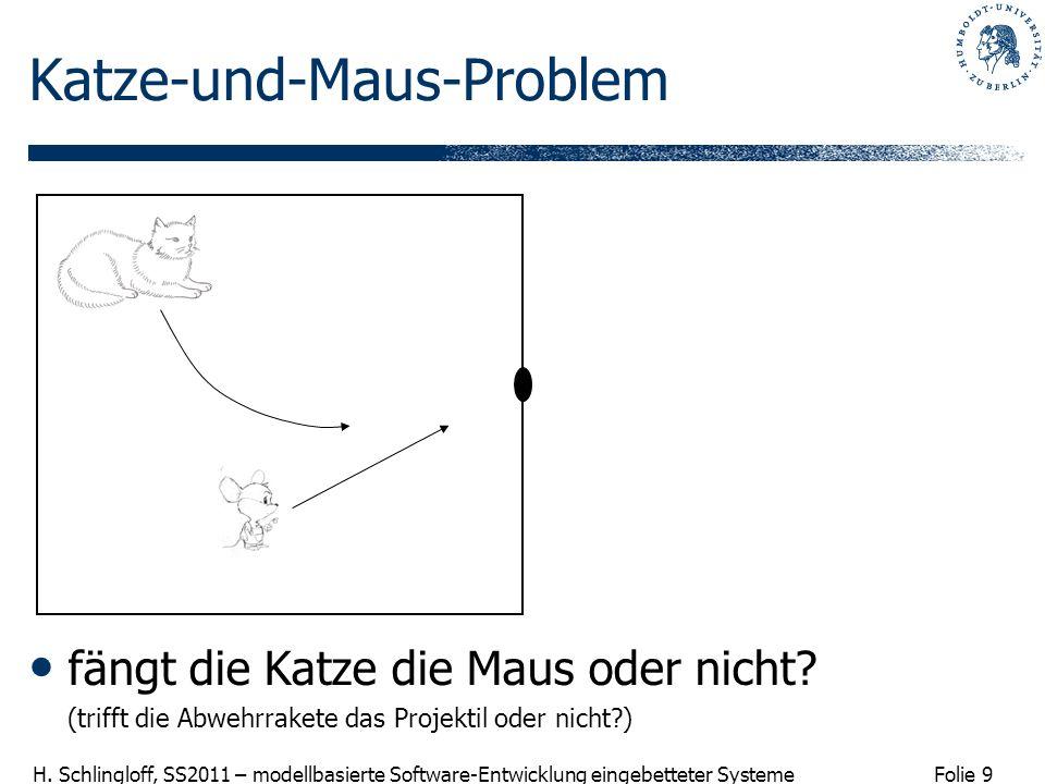 Folie 9 H. Schlingloff, SS2011 – modellbasierte Software-Entwicklung eingebetteter Systeme Katze-und-Maus-Problem fängt die Katze die Maus oder nicht?