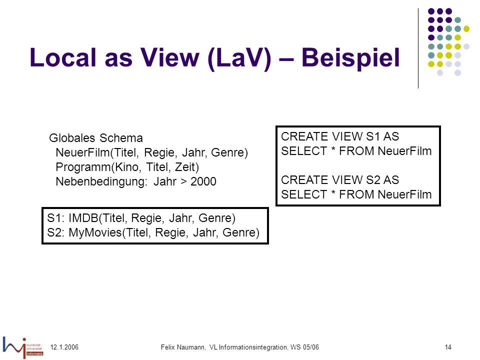 12.1.2006Felix Naumann, VL Informationsintegration, WS 05/0614 Local as View (LaV) – Beispiel Globales Schema NeuerFilm(Titel, Regie, Jahr, Genre) Programm(Kino, Titel, Zeit) Nebenbedingung: Jahr > 2000 S1: IMDB(Titel, Regie, Jahr, Genre) S2: MyMovies(Titel, Regie, Jahr, Genre) CREATE VIEW S1 AS SELECT * FROM NeuerFilm CREATE VIEW S2 AS SELECT * FROM NeuerFilm