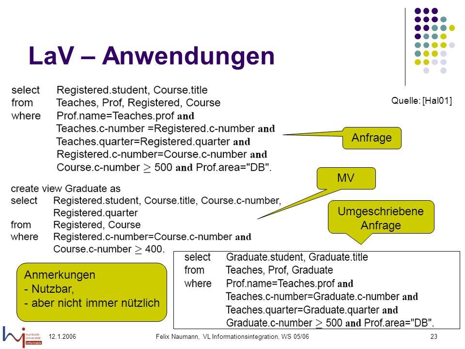 12.1.2006Felix Naumann, VL Informationsintegration, WS 05/0623 LaV – Anwendungen Anfrage MV Umgeschriebene Anfrage Anmerkungen - Nutzbar, - aber nicht immer nützlich Quelle: [Hal01]