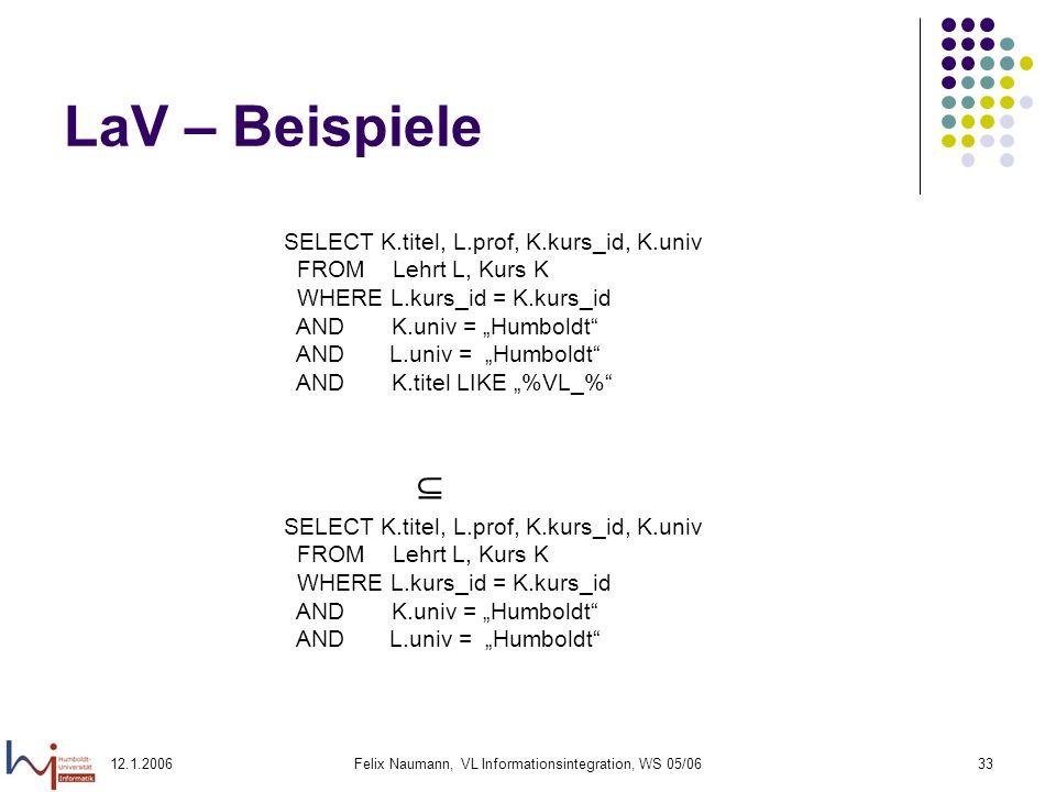 12.1.2006Felix Naumann, VL Informationsintegration, WS 05/0633 LaV – Beispiele SELECT K.titel, L.prof, K.kurs_id, K.univ FROM Lehrt L, Kurs K WHERE L.kurs_id = K.kurs_id AND K.univ = Humboldt ANDL.univ = Humboldt AND K.titel LIKE %VL_% SELECT K.titel, L.prof, K.kurs_id, K.univ FROM Lehrt L, Kurs K WHERE L.kurs_id = K.kurs_id AND K.univ = Humboldt ANDL.univ = Humboldt ???