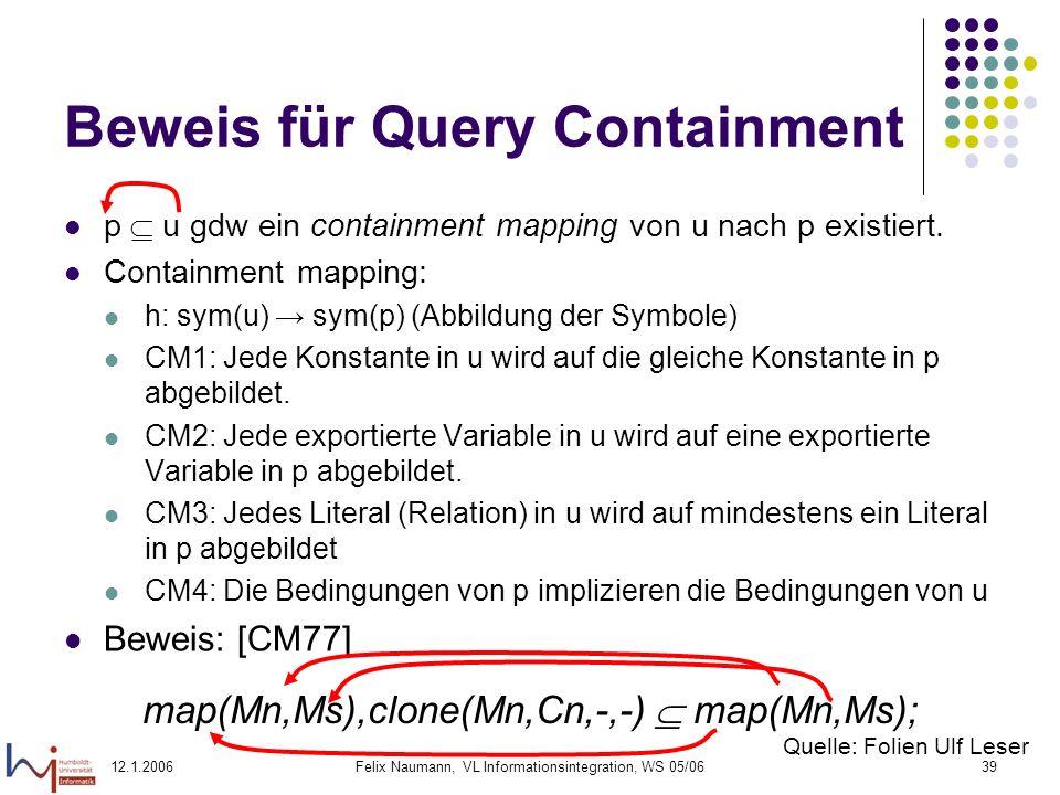 12.1.2006Felix Naumann, VL Informationsintegration, WS 05/0639 Beweis für Query Containment p u gdw ein containment mapping von u nach p existiert.