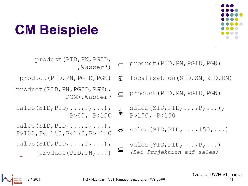 12.1.2006Felix Naumann, VL Informationsintegration, WS 05/0641 CM Beispiele Quelle: DWH VL Leser
