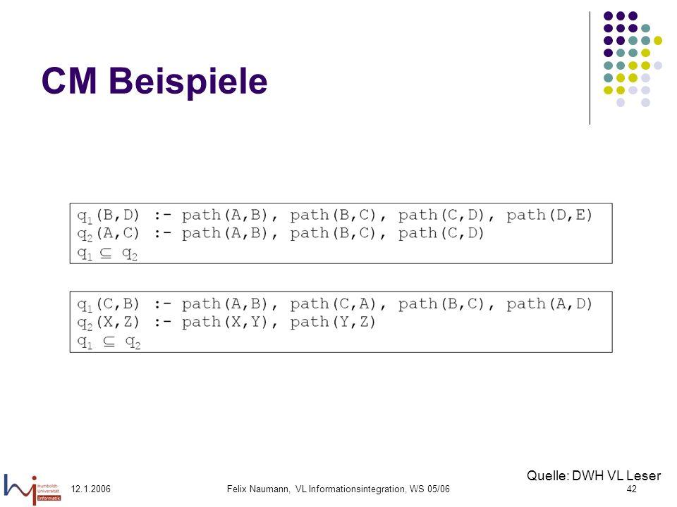 12.1.2006Felix Naumann, VL Informationsintegration, WS 05/0642 CM Beispiele Quelle: DWH VL Leser