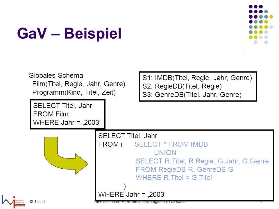 12.1.2006Felix Naumann, VL Informationsintegration, WS 05/067 GaV – Beispiel SELECT F.Titel, P.Kino FROM Film F, Programm P WHERE F.Titel = P.Titel AND P.Zeit > 20:00 SELECT F.Titel, F.Jahr FROM ( SELECT * FROM IMDB UNION SELECT R.Titel, R.Regie, G.Jahr, G.Genre FROM RegieDB R, GenreDB G WHERE R.Titel = G.Titel ) AS F, ( SELECT * FROM KinoDB ) AS P WHERE F.Titel = P.Titel AND P.Zeit > 20:00 S1: IMDB(Titel, Regie, Jahr, Genre) S2: RegieDB(Titel, Regie) S3: GenreDB(Titel, Jahr, Genre) S7: KinoDB(Kino, Genre, Zeit)