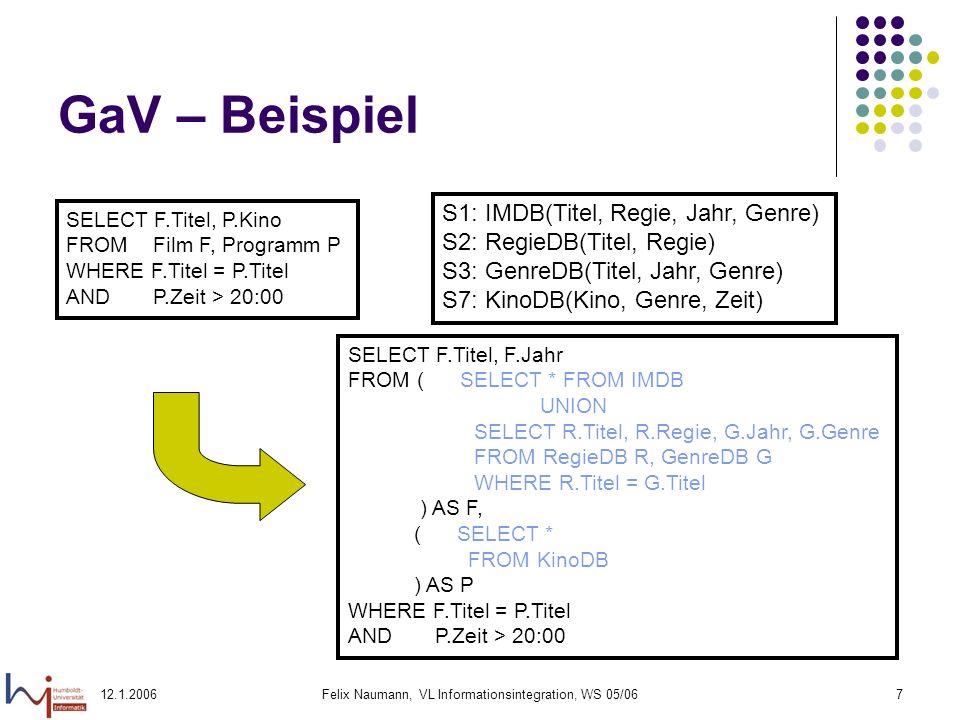 12.1.2006Felix Naumann, VL Informationsintegration, WS 05/0628 LaV – Anfragebearbeitung Gegeben: Anfrage Q und Sichten V 1,..., V n Gesucht: Umgeschriebene Anfrage Q, die bei Optimierung (mit MVs): äquivalent ist (Q = Q).