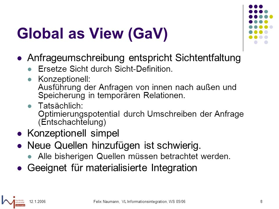 12.1.2006Felix Naumann, VL Informationsintegration, WS 05/069 Überblick Wiederholung Global-as-View (GaV) & GaV Anfragebearbeitung Local-as-View (LaV) LaV Anfragebearbeitung Containment Definition Test Nutzbarkeit und Nützlichkeit von Views