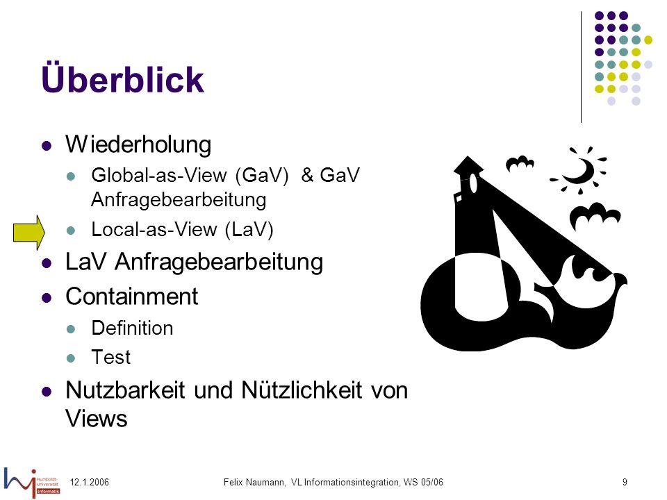 12.1.2006Felix Naumann, VL Informationsintegration, WS 05/0610 Local as View (LaV) – Beispiel Globales Schema Film(Titel, Regie, Jahr, Genre) S1: IMDB(Titel, Regie, Jahr, Genre) S2: MyMovies(Titel, Regie, Jahr, Genre) S3: RegieDB(Titel, Regie) S4: GenreDB(Titel, Jahr, Genre) CREATE VIEW S1 AS SELECT * FROM Film CREATE VIEW S2 AS SELECT * FROM Film CREATE VIEW S3 AS SELECT Film.Titel, Film.Regie FROM Film CREATE VIEW S4 AS SELECT Film.Titel, Film.Jahr, Film.Genre FROM Film Quelle: VL Data Integration, Alon Halevy, University of Washington, 2002