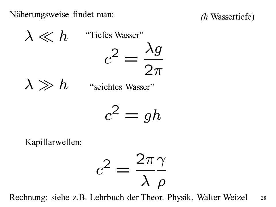 28 Näherungsweise findet man: Tiefes Wasser (h Wassertiefe) seichtes Wasser Kapillarwellen: Rechnung: siehe z.B. Lehrbuch der Theor. Physik, Walter We