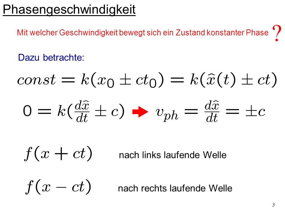 4 Wellenlänge und Wellenzahl der harmonischen Welle x kürzester Abstand zwischen gleichen Schwingungszuständen (Oszillatoren in Phase) Wellenlänge : bzw.